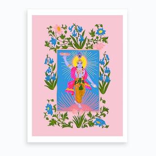 Krishna Pink Art Print
