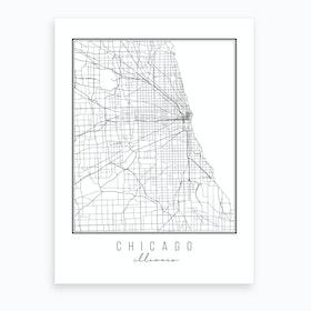 Chicago Illinois Street Map Art Print