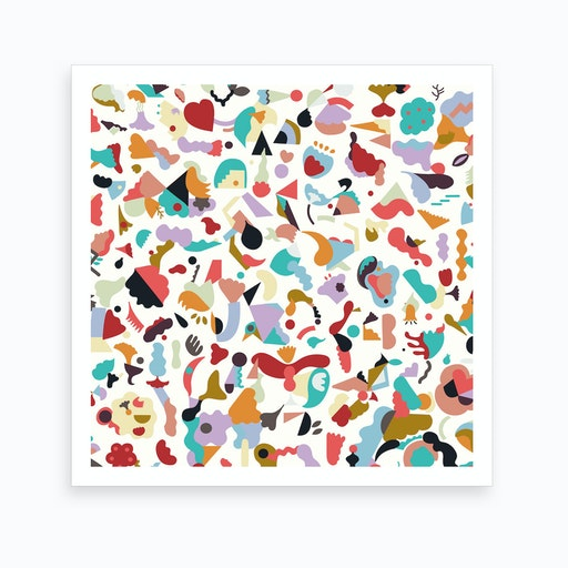 Dreamy Animal Shapes White Square Art Print