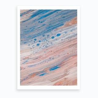 Salmon & Blue Delight Art Print