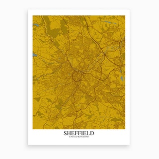 Sheffield Yellow Blue Map Art Print