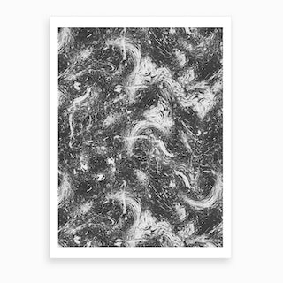 Abstract Dripping Painting Black White Art Print