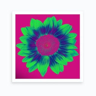 Neon Sunflower Square Art Print