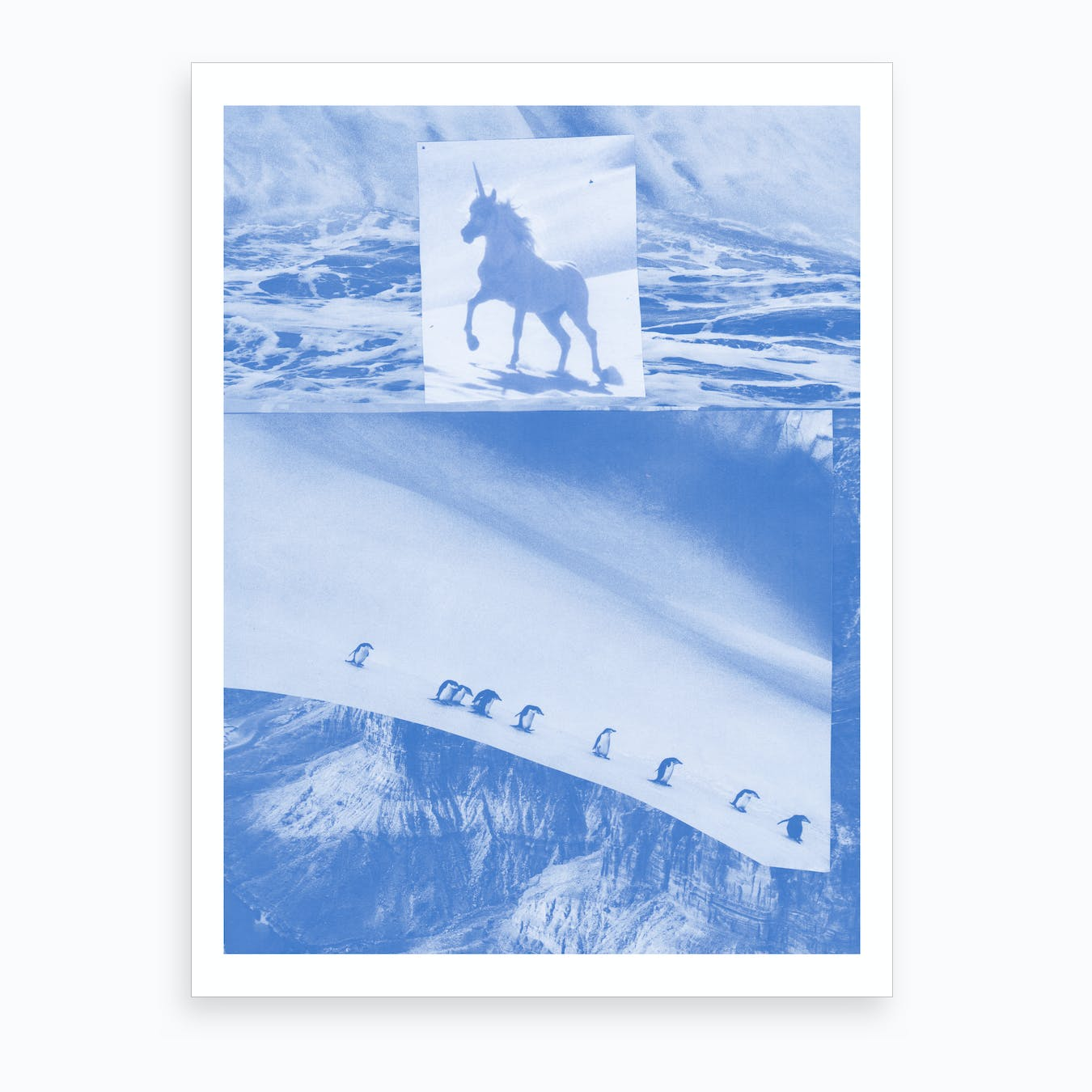 Unicorn Vs Penguin Blue Collage Art Print