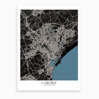Cardiff Black Blue Map Art Print