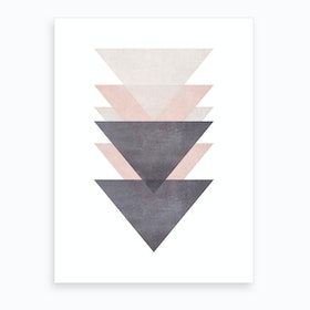 Pink Grey and Black Cotton Texture Abstract Triangles Art Print