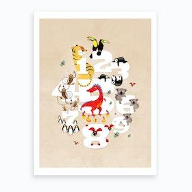 One Two Three Animals Art Print