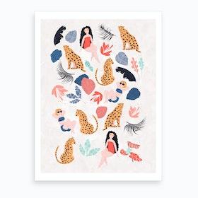 Tropical Girls And Cheetah Art Print