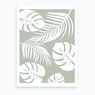 Palm Monstera Leaves Art Print