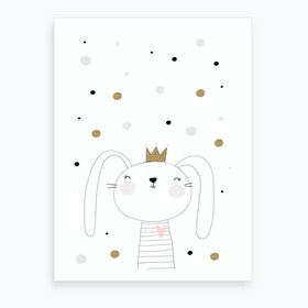 Scandi Cute Bunny With Star Art Print