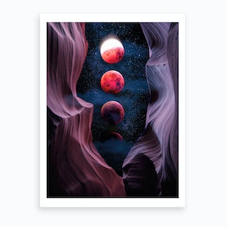 Grand Canyon With Space And Bloody Moon Collage V Art Print