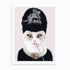 Audrey Hepburn Cat Art Print