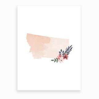 Montana Watercolor Floral State Art Print