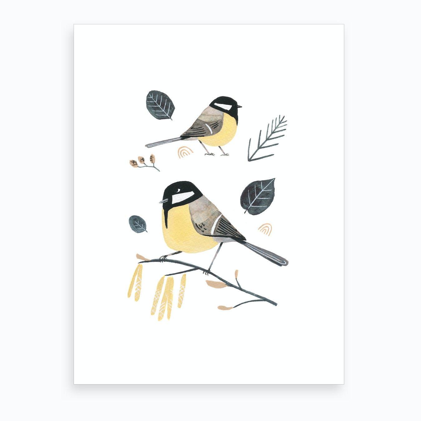 Nordic Winter Birds Art Print