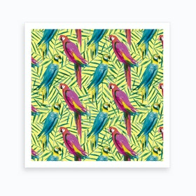 Tropical Parrots Palms Square Art Print