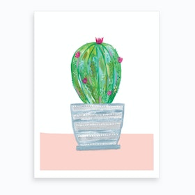 Painted Cactus In Grey Patterned Pot Art Print