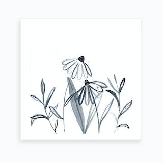 Wildflower Line Work Illustration Art Print
