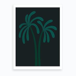 Palm Tree At Night Art Print