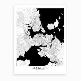 Auckland White Black Map Art Print
