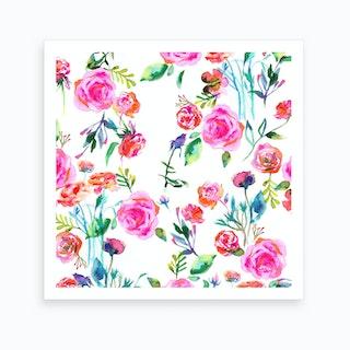 Roses Bouquet Pink Square Art Print