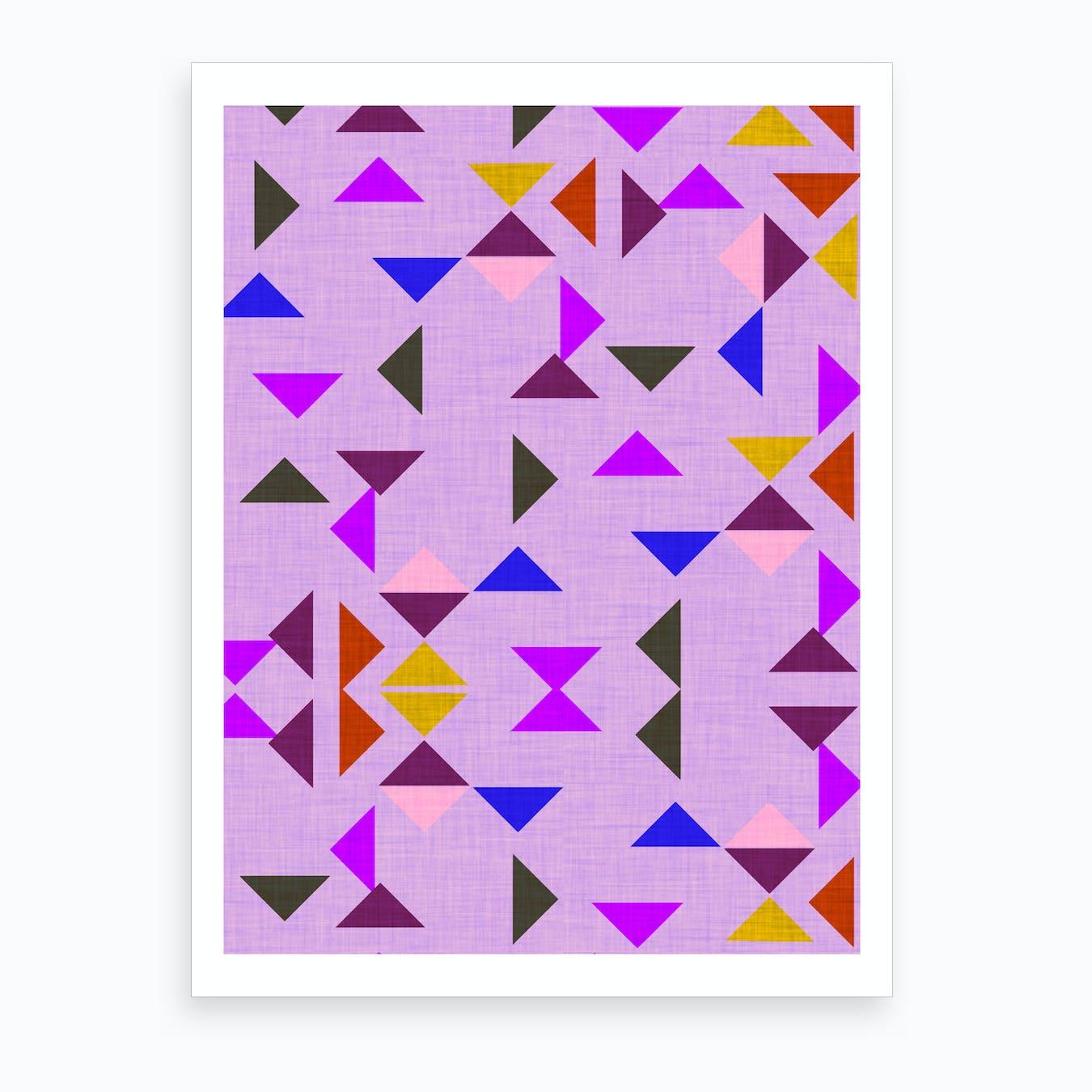Kilim Triangle Pattern Purple Art Print