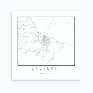 Savannah Georgia Street Map Art Print