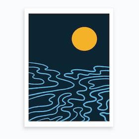 The Moon And The Sea Art Print