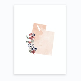 Utah Watercolor Floral State Art Print