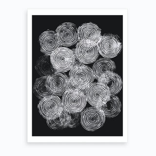Radial Block Print In Black Art Print