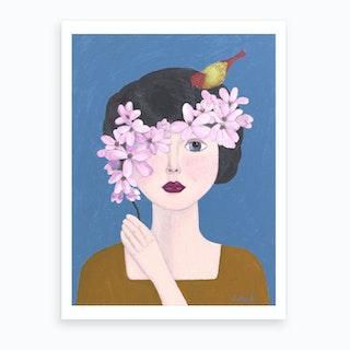 Woman Holding Flowers Art Print