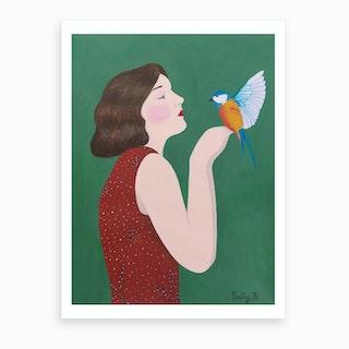 Woman And Bird Art Print