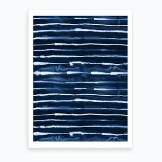 Electric Ink Lines Navy Art Print