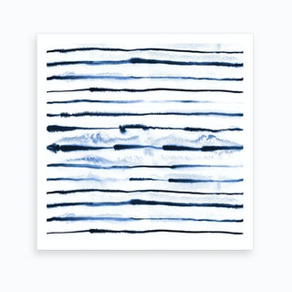 Electric Ink Lines White Art Print