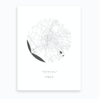 Rome Italy Circle Map Art Print