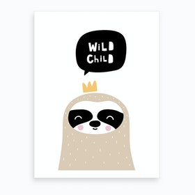 Scandi Wild Child Sloth Art Print