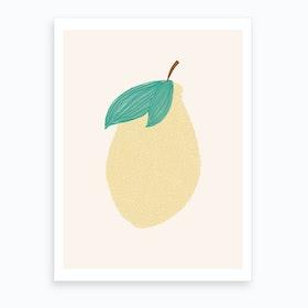 Lemon Illustration  Pink Background  Art Print