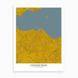 Edinburgh Yellow Blue Map Art Print