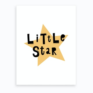 Scandi Little Star Yellow Art Print