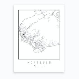 Honolulu Hawaii Street Map Art Print