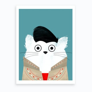 Cat Elvis Art Print