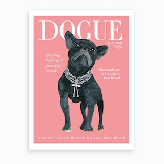 Fashion Frenchie Dogue Pink Art Print