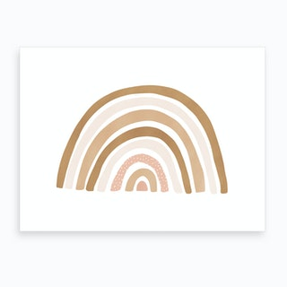 Scandi Nursery Rainbow  Burnt Umber  Art Print