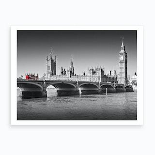 London Westminster Bridge And Red Bus Art Print