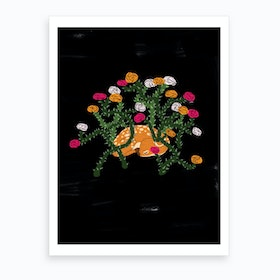 Fawn And Roses Art Print
