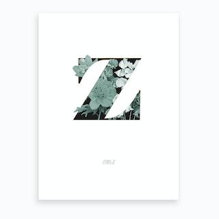 Flower Alphabet Z Art Print