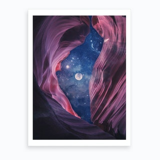 Grand Canyon with Space Collage Art Print