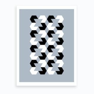 Hexagon Op Art Grey Art Print