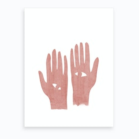 Eye Hands Pink Art Print