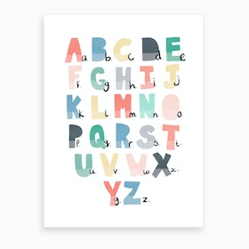 Scandi Alphabet Chart  Rainbow Colours  Art Print