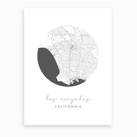 Los Angeles California Circle Map Art Print